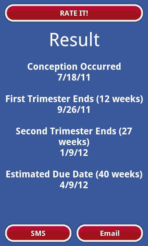 Приложение Калькулятор беременности на Андроид
