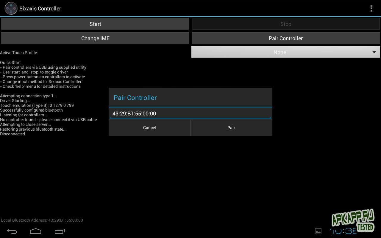 "Приложение ""Sixaxis Controller"" на Андроид"