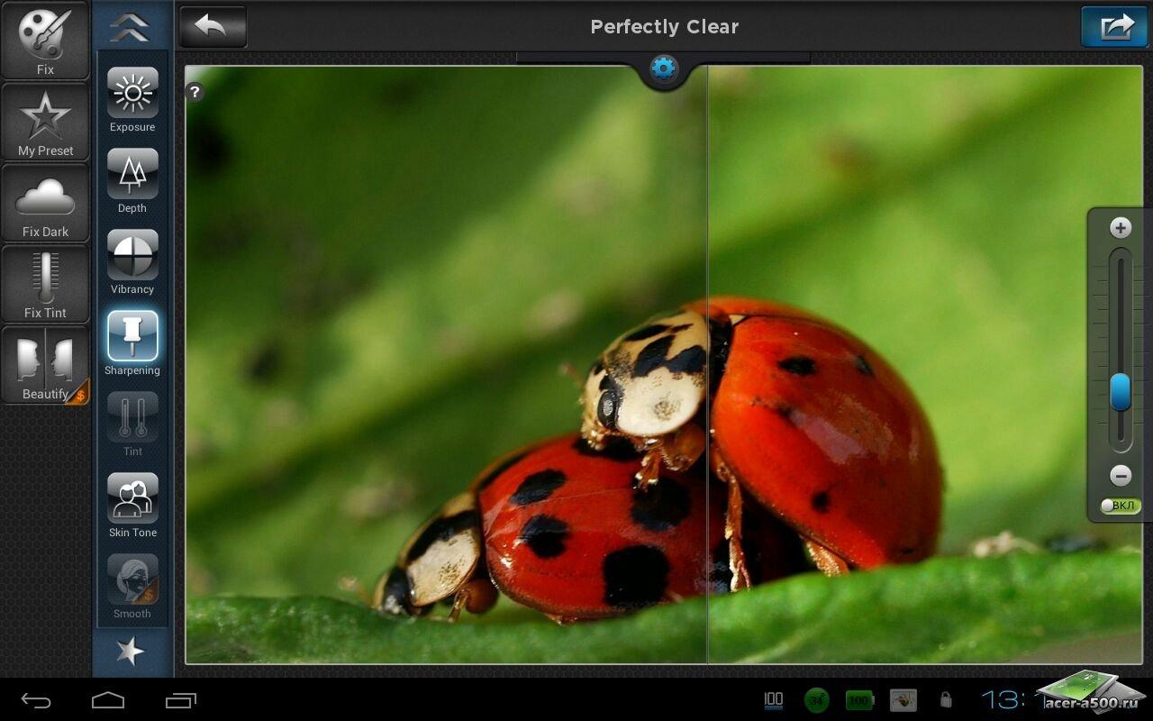"""Фоторедактор """"Perfectly Clear"""" на Андроид"""