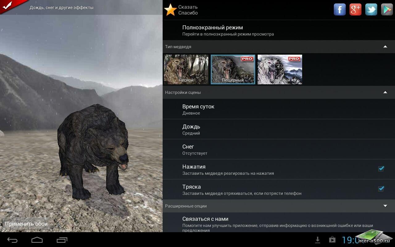 """Живые обои """"Pocket Bear HD"""" для планшетов на Android"""