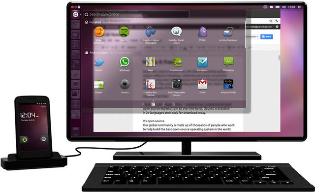 Android на планшете, Ubuntu на мониторе