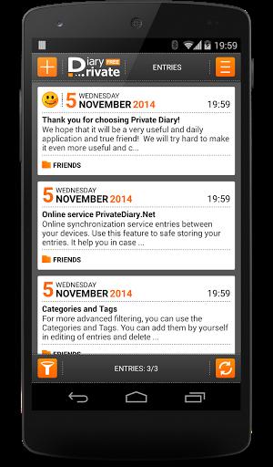"Электронный ежедневник ""Private Diary"" для планшетов на Android"