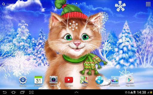 Зимний Котенок Живые Обои на Андроид