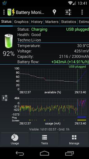 "Мониторинг батареи ""Battery Monitor Widget Pro"" для планшетов на Android"