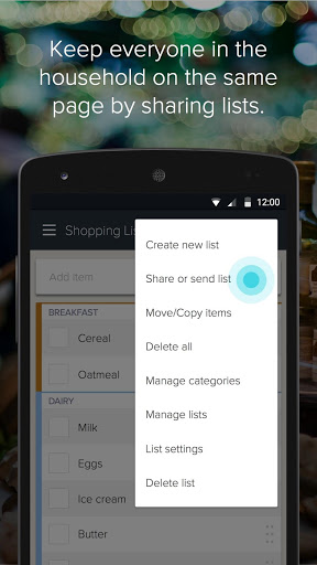 "Приложение ""Out of Milk Shopping List"" для планшетов на Android"