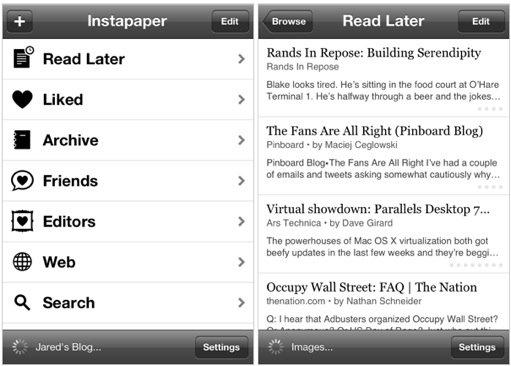 "Приложение для чтения ""Instapaper"" на Андроид"