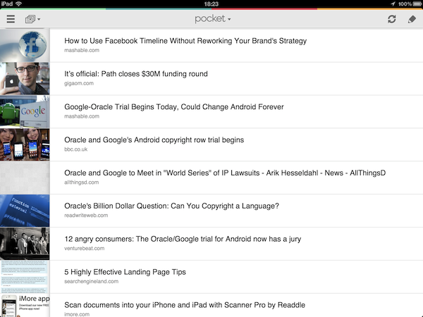"Сервис отложенного чтения ""Pocket (Read It later)"" для планшетов на Android"