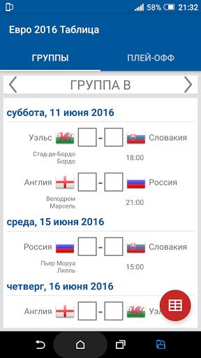 Евро 2016 Таблица скачать на Андроид