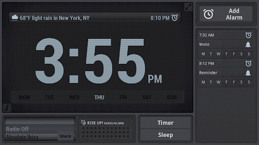 """Виджеты """"Rise Up! Radio/Alarm"""" для планшетов на Android"""