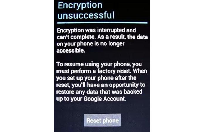 Сбой шифрования на планшете
