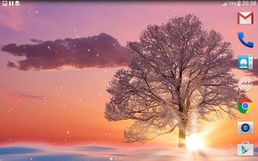 Зимний закат - Живые обои на Андроид