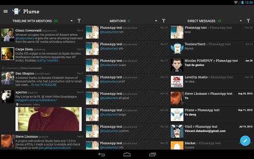 "Клиент Twitter ""Plume for Twitter"" на Андроид"