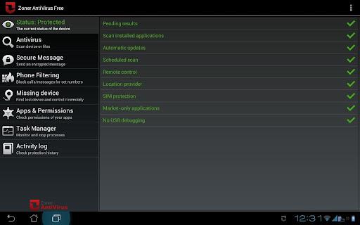 Антивирус Zoner AntiVirus Free - Tablet для планшетов на Android