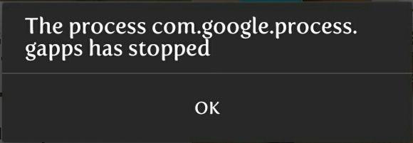 Планшет выдает ошибку com google process gapps