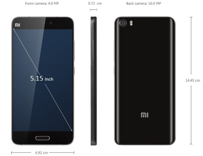 Xiaomi Mi5S размеры