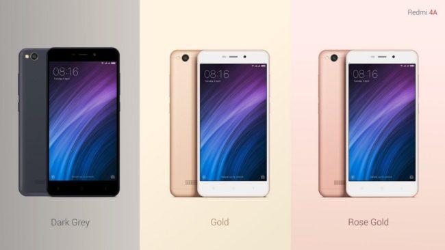 Xiaomi Redmi 4A цвета