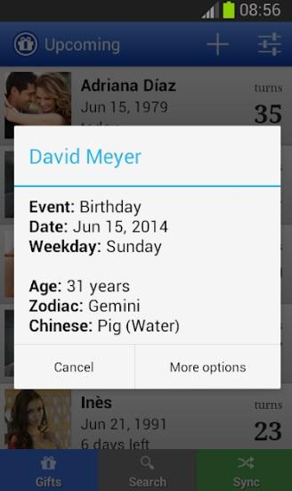 Дни рождения на Андроид