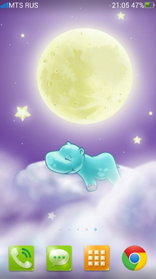 Бегемотик и Луна. Живые обои на ПК