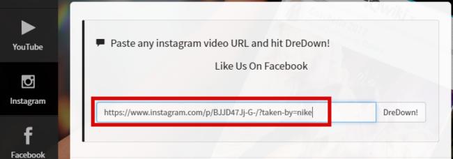 скачать видео с инстаграм с помощью dredown
