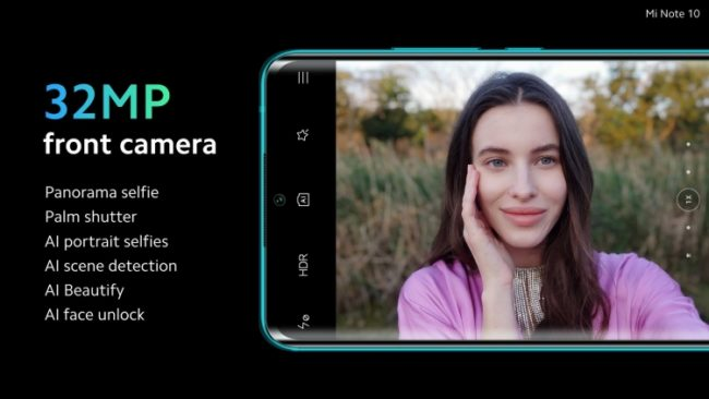 Xiaomi Mi Note 10 фронтальная камера