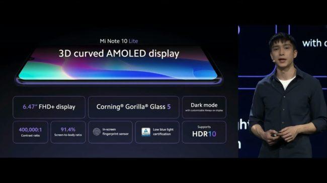 Xiaomi Mi Note 10 Lite экран