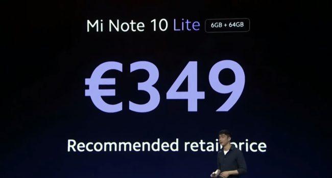 Xiaomi Mi Note 10 Lite цена