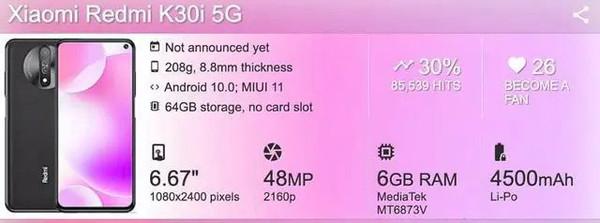 телефон Xiaomi Redmi K30i 5G