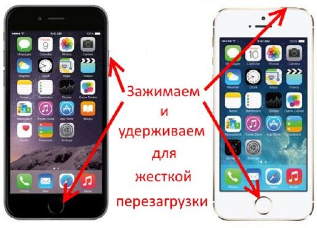 перезагрузка зависшего iPhone